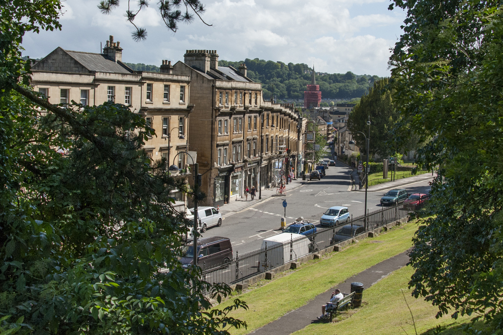View from Hedgemead Court into Bath's Artisan Quarter