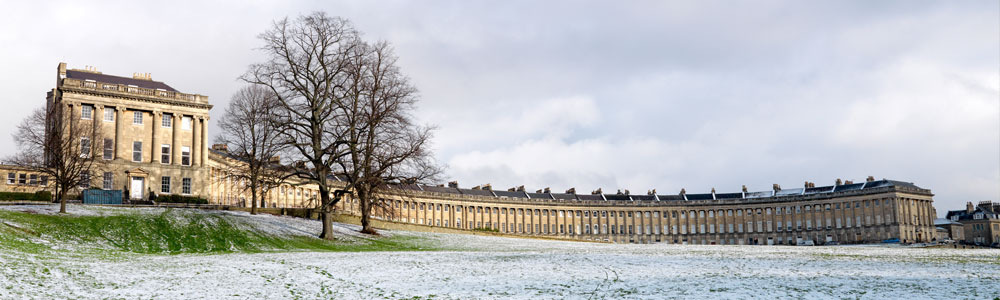Royal Crescent Bath in the Snow
